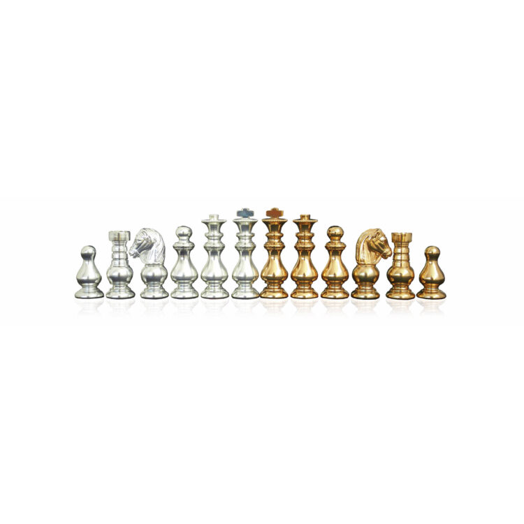 Gold-Silver plated solid brass chess-men