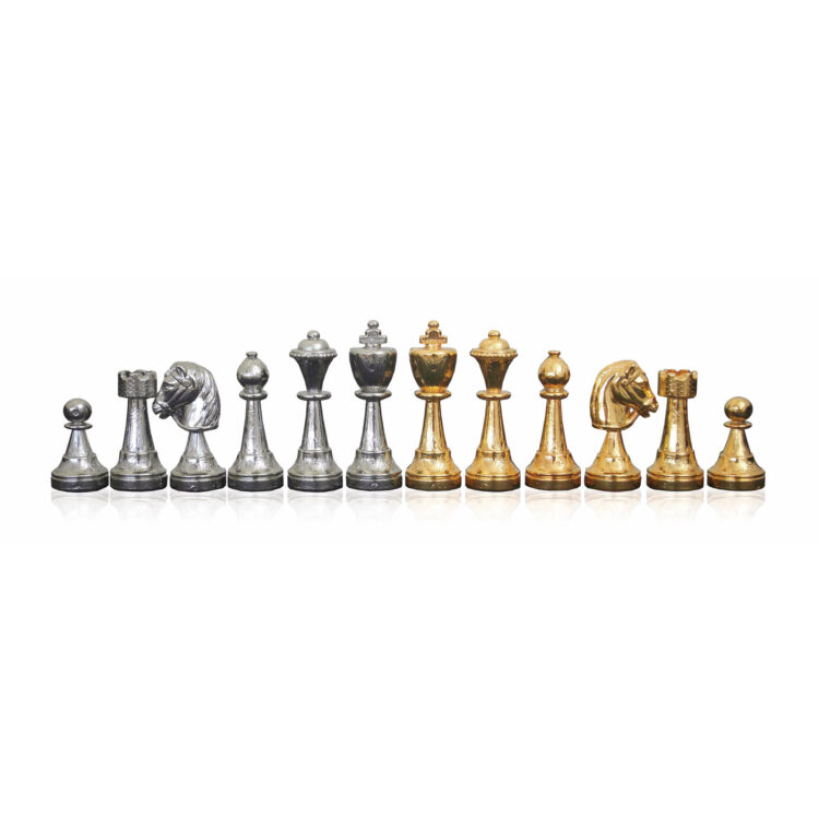 Gold-Silver plated metal chess-men